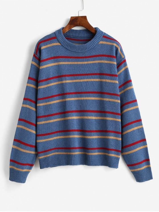fashion Stripes Crew Neck Jumper Sweater - SILK BLUE ONE SIZE