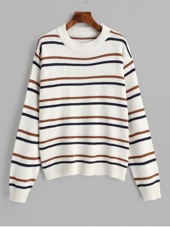 online Stripes Crew Neck Jumper Sweater - WHITE ONE SIZE