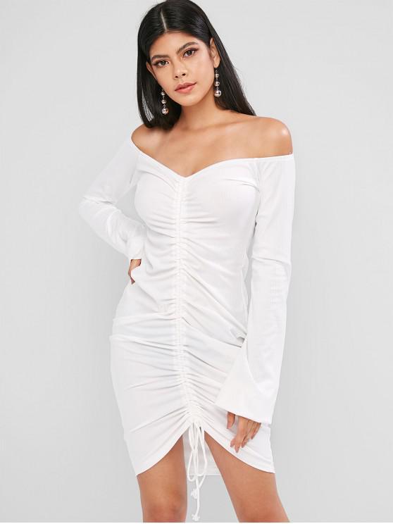 Рубчатое Облегающее Платье С открытыми плечами Фонарь рукав - Белый L