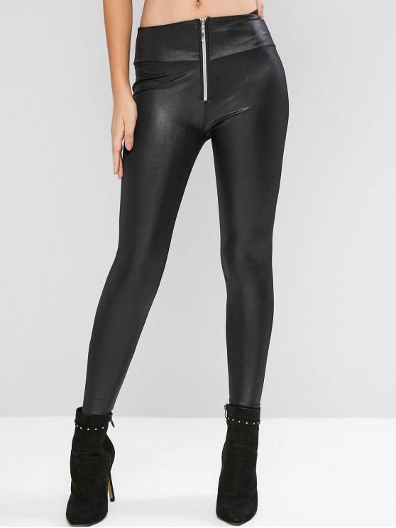hot Zip Front Faux Leather Solid Leggings - BLACK M