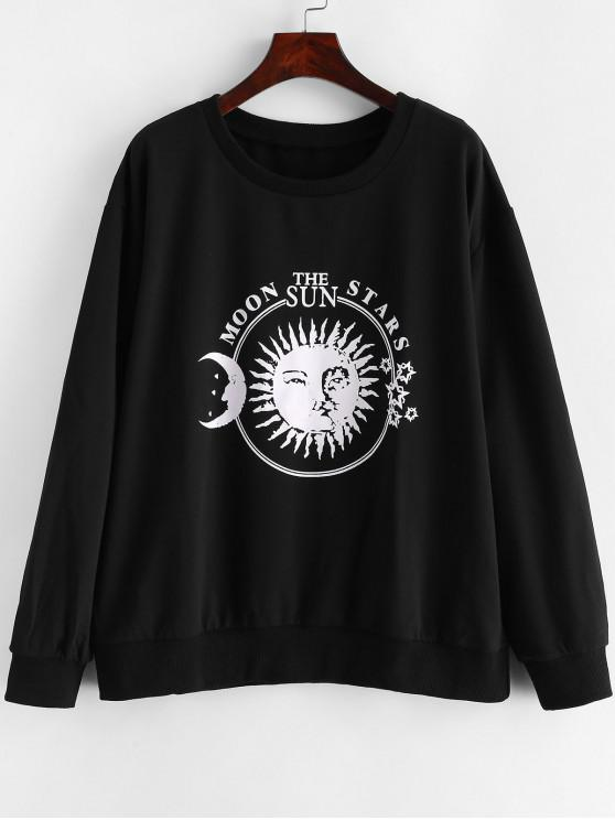 ladies Sun and Moon Letter Graphic Loose Sweatshirt - BLACK M