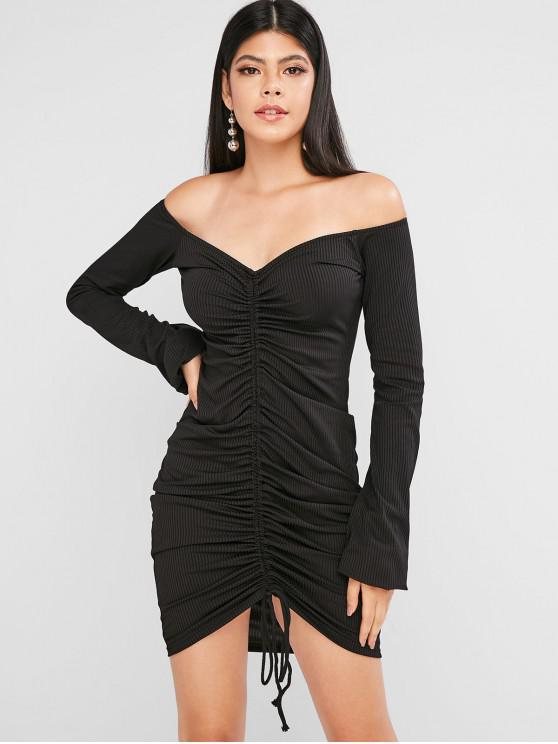 outfit Ribbed Cinched Off Shoulder Lantern Sleeve Bodycon Dress - BLACK L