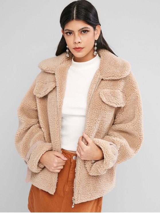 women ZAFUL Buckle Sleeve Faux Pockets Zip Front Teddy Jacket - TAN L
