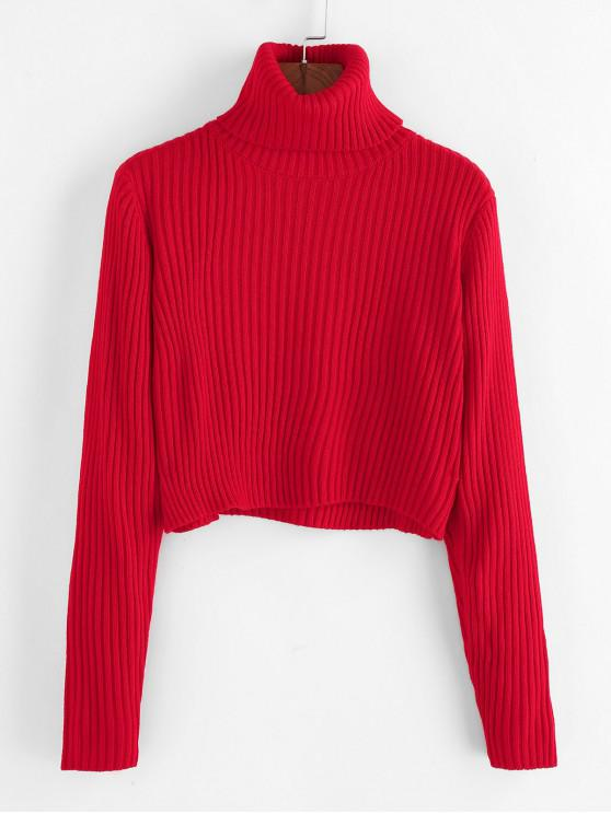 online ZAFUL Ribbed Turtleneck Cropped Sweater - RED XL