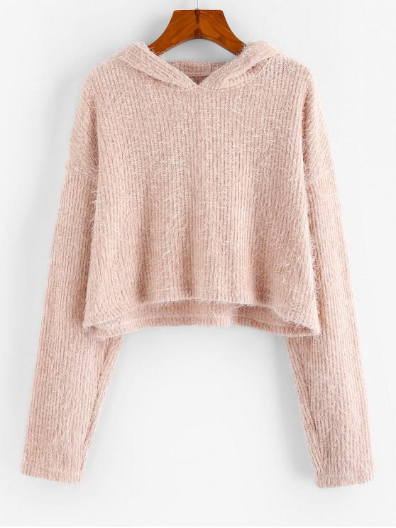 women Fluffy Hooded Cropped Sweater - ROSE XL