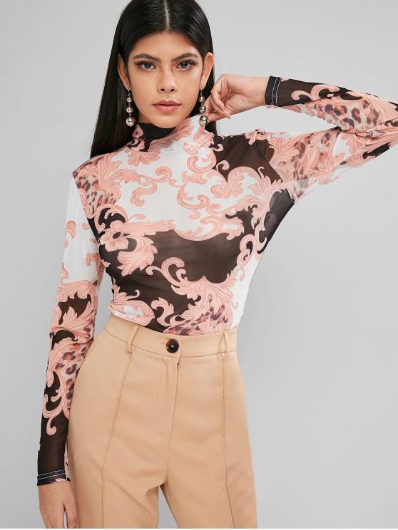 women's Mesh Leopard Print Sheer High Neck Tee - MULTI L