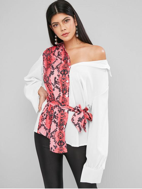 chic Contrast Snake Print Belted Curved Tunic Shirt - WHITE L