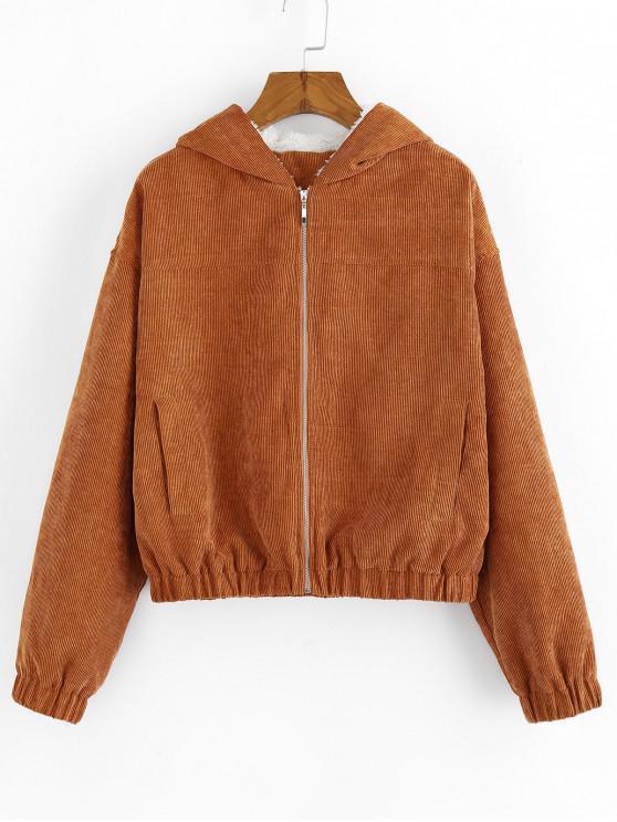 chic ZAFUL Hooded Faux Fur Corduroy Jacket - LIGHT BROWN M