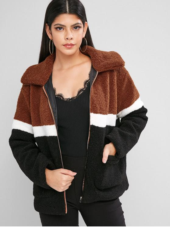 women's ZAFUL Zip Front Colorblock Patched Pockets Teddy Jacket - MULTI-A S