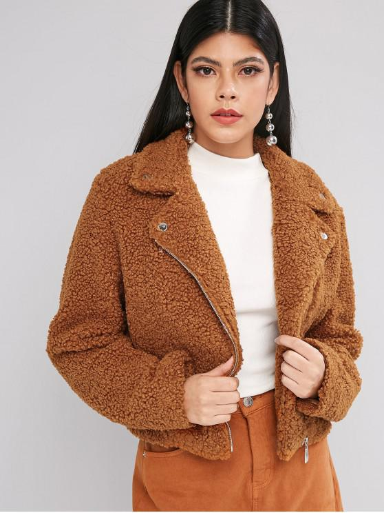 shops ZAFUL Solid Zip Front Snap Button Teddy Jacket - TIGER ORANGE S
