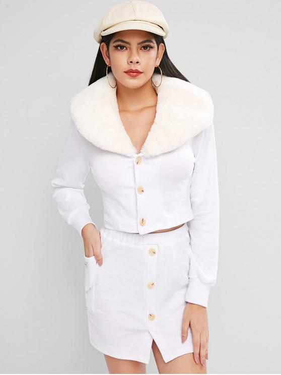 outfits Letter Pocket Faux Fur Collar Skirt Set - WHITE M