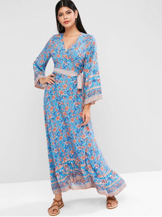 unique Floral Flounce Hem Maxi Wrap Dress - BLUE L