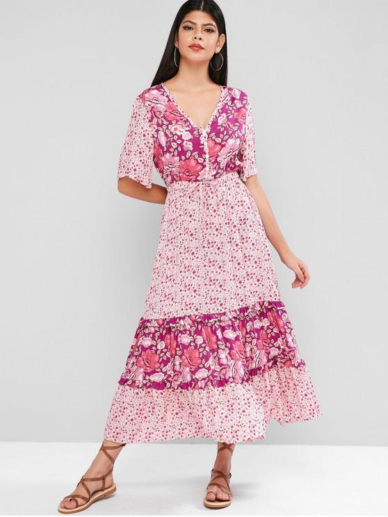 La mitad ZAFUL Botón impresión floral de la línea vestido - Tyrian Púrpura M
