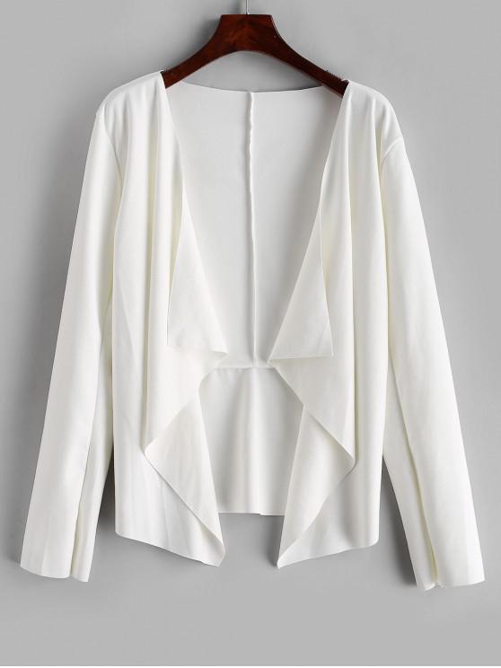 Drapat asimetrica Faux Suede Deschideți Jacheta - alb XL
