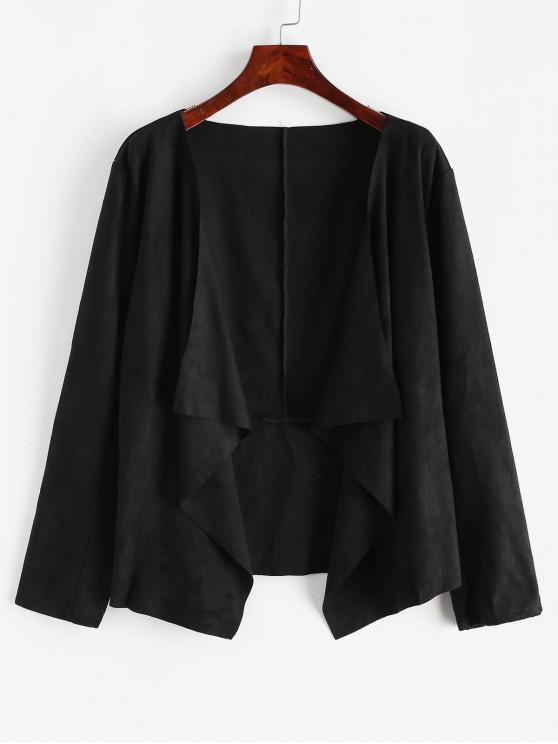 fancy Draped Asymmetric Faux Suede Open Jacket - BLACK S