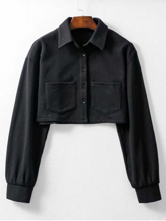 hot Button Up Pockets Crop Jacket - BLACK M