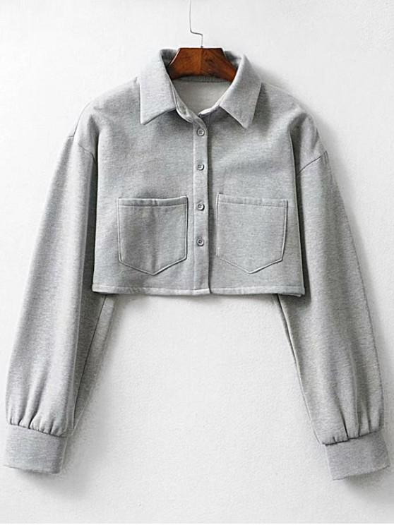outfits Button Up Pockets Crop Jacket - GRAY M