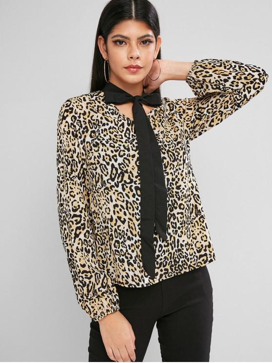 womens Leopard Animal Print Bow Tie Blouse - MULTI-A M