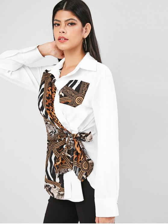 lady Leopard Zebra Print Chest Pocket Tie Blouse - MULTI XL