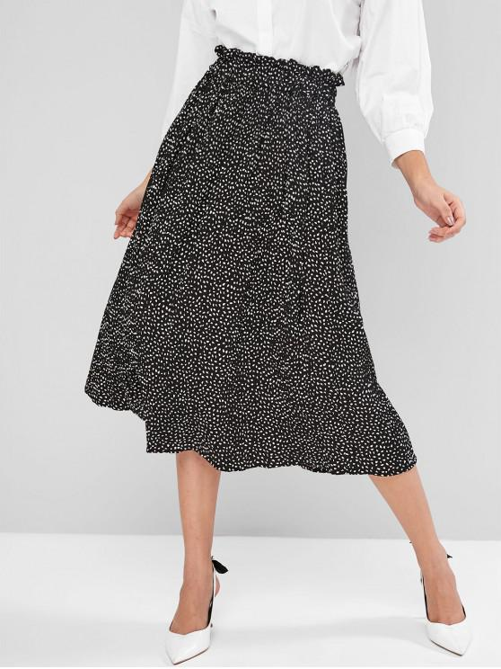 chic Ditsy Print Pleated Frilled Midi Skirt - BLACK S