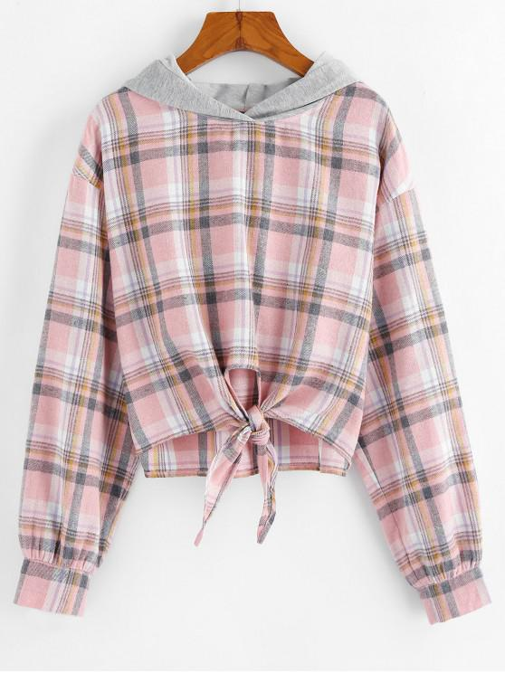 lady ZAFUL Plaid Front Knot Hoodie - ROSE S
