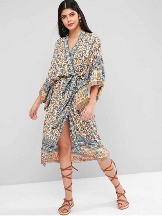 sale Bohemian Flower Belted Longline Kimono Cover Up - BLUE L