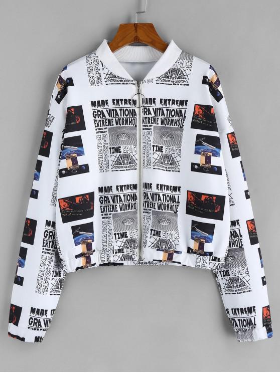 chic ZAFUL Letter Drop Shoulder Zipper Jacket - WHITE XL