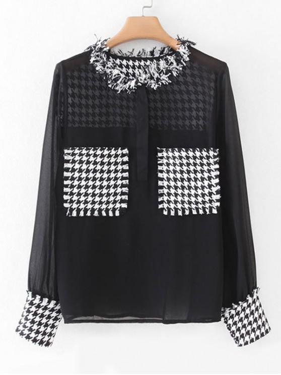 latest Houndstooth Tweed Panel Dual Pocket Chiffon Blouse - BLACK S