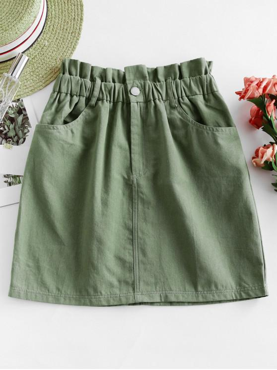 trendy Zipper Fly Solid Paperbag Skirt - ARMY GREEN S