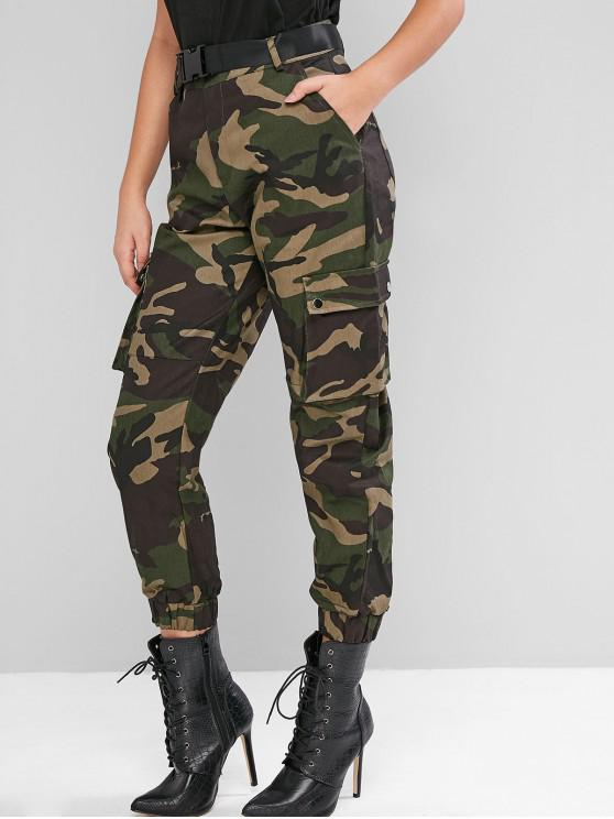 womens Camouflage Belted High Waist Jogger Pants - MULTI-A M