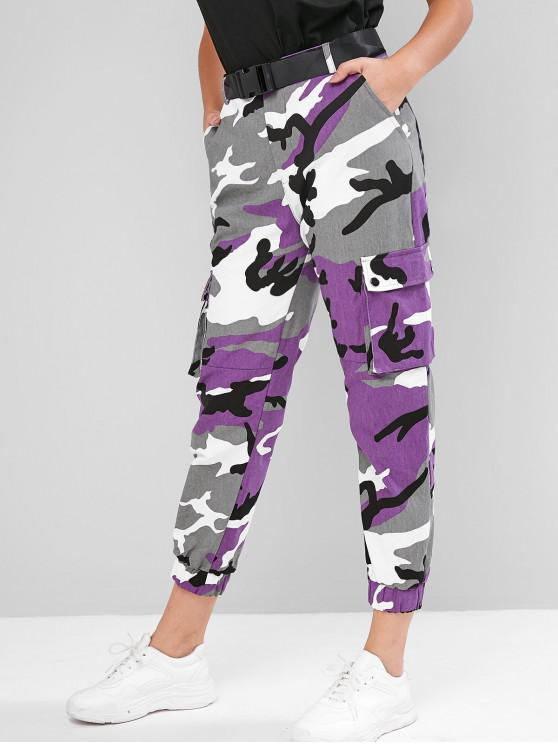trendy Camouflage Belted High Waist Jogger Pants - MULTI-B L