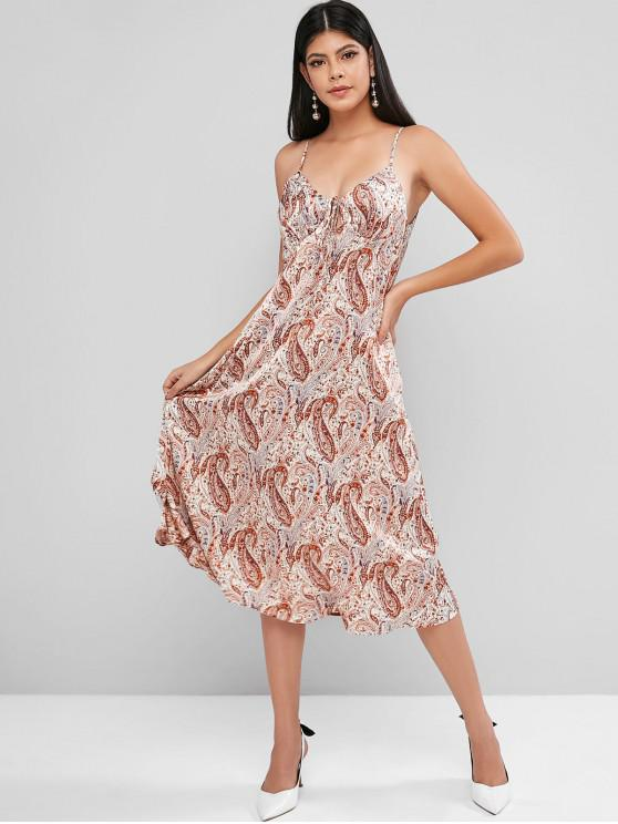 affordable ZAFUL Paisley Print Knotted Cami Dress - BEIGE S