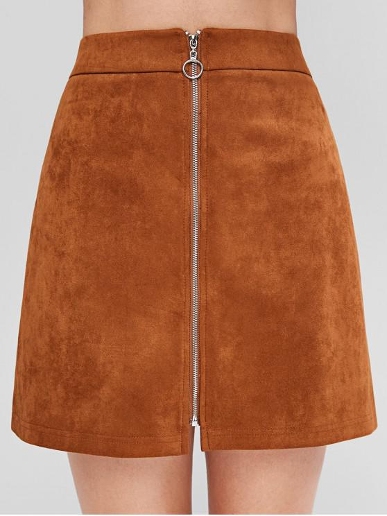 fashion ZAFUL Zip Front Faux Suede Flare Skirt - BROWN L