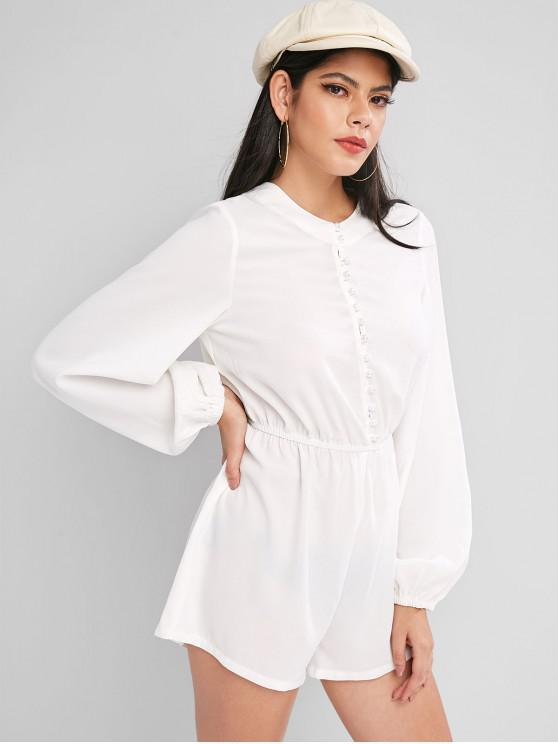 hot ZAFUL Elastic Waist Long Sleeve Pearly Button Loop Romper - WHITE S