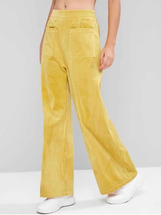 outfits ZAFUL Pockets High Waisted Corduroy Wide Leg Pants - BEE YELLOW XL