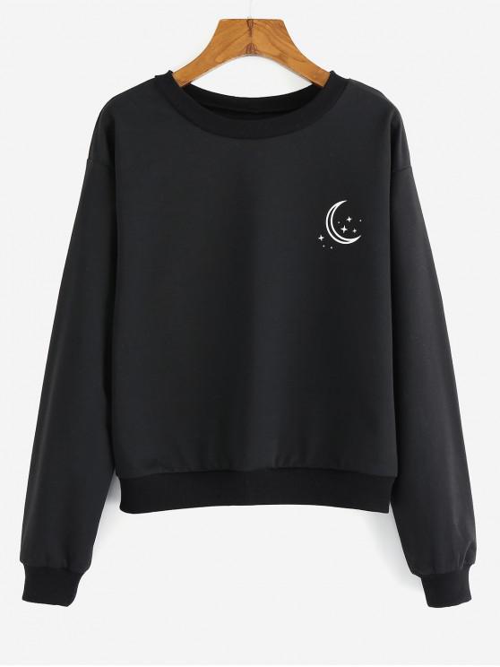 Sweat-Shirt à Imprimé Graphiqueà GoutteÉpaule - Noir S