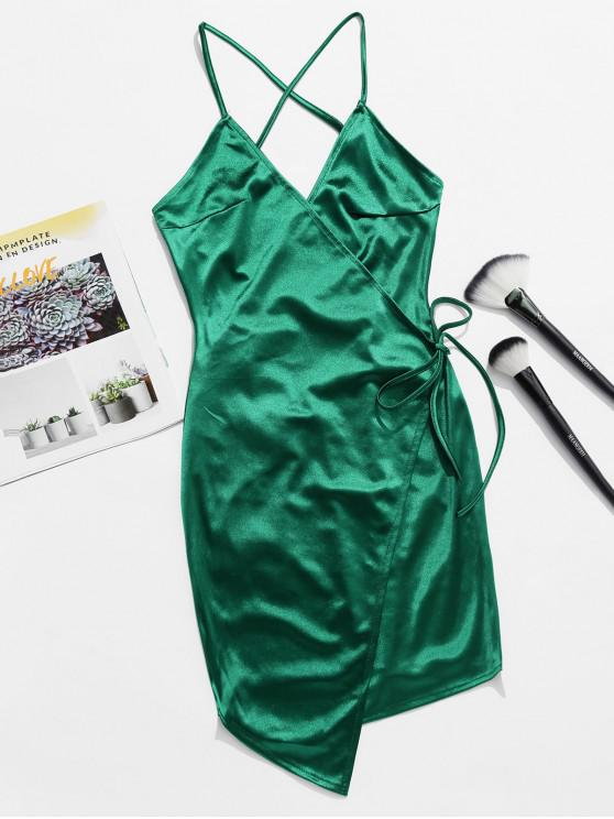 chic Backless Lace Up Satin Cami Dress - DEEP GREEN M
