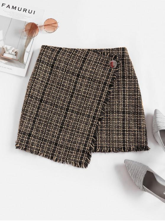 womens ZAFUL Tweed Faux Wrap Skirt - MULTI-A M