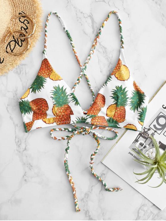 fancy ZAFUL Braided Crisscross Lace-up Pineapple Bikini Top - WHITE L