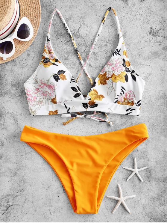ZAFUL Maillot de Bain Bikini Croisé Feuille et Fleur à Lacets - Jaune Clair L