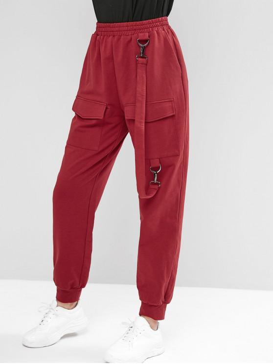 ZAFUL Pantalon de Jogging à Bretelle à Taille Haute avec Poches à Rabat - Brique Réfractaire L