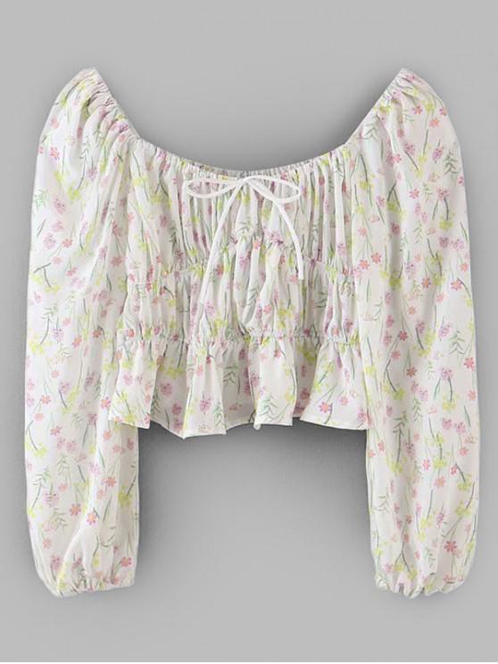 latest Tie Collar Peplum Hem Ditsy Floral Blouse - WHITE M