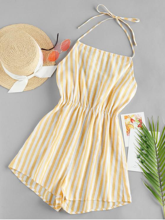 outfits ZAFUL Striped Halter Wide Leg Romper - MULTI-A L
