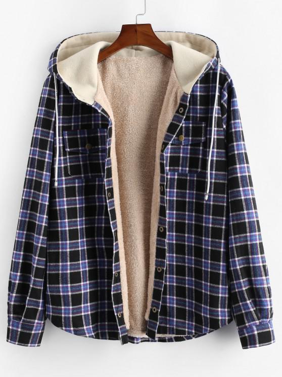 unique Plaid Chest Pocket Fleece Drawstring Hooded Jacket - BLACK S