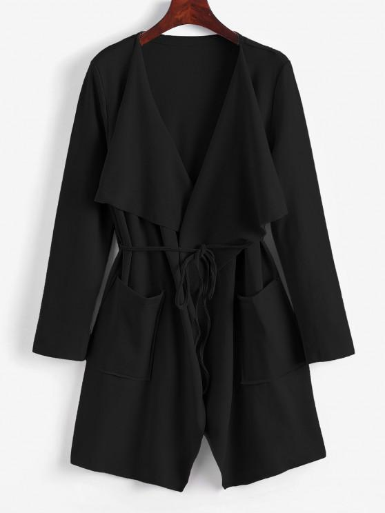 fancy Belted Skirted Patched Pockets Waterfall Coat - BLACK M