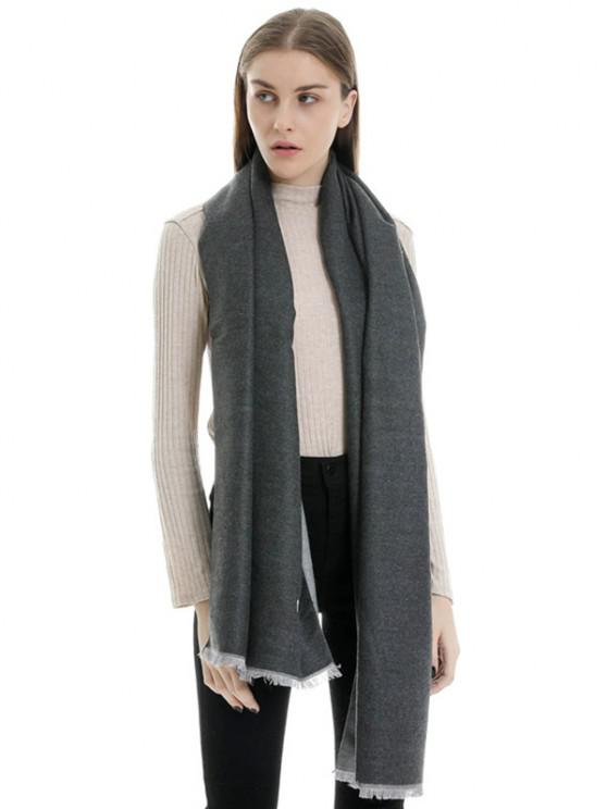 womens Faux Cashmere Double-sided Two Tone Scarf - BLACK REGULAR