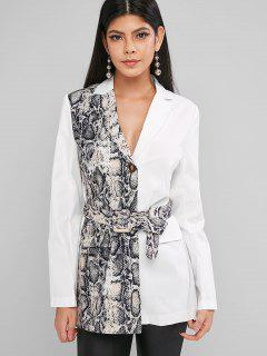 Snake Print Lapel Two Button Belted Blazer - White S