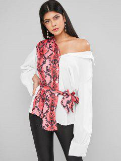 Contrast Snake Print Belted Curved Tunic Shirt - White M