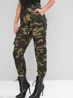 Camouflage Belted High Waist Jogger Pants - Multi-a M