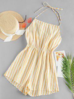 ZAFUL Striped Halter Wide Leg Romper - Multi-a M